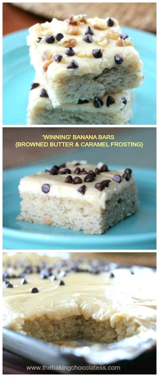 'Winning' Banana Bars {Browned Butter & Caramel Frosting}