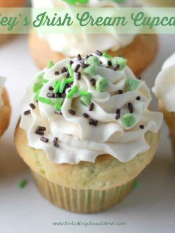 """Lucky"" Bailey's Irish Cream Cupcakes!"