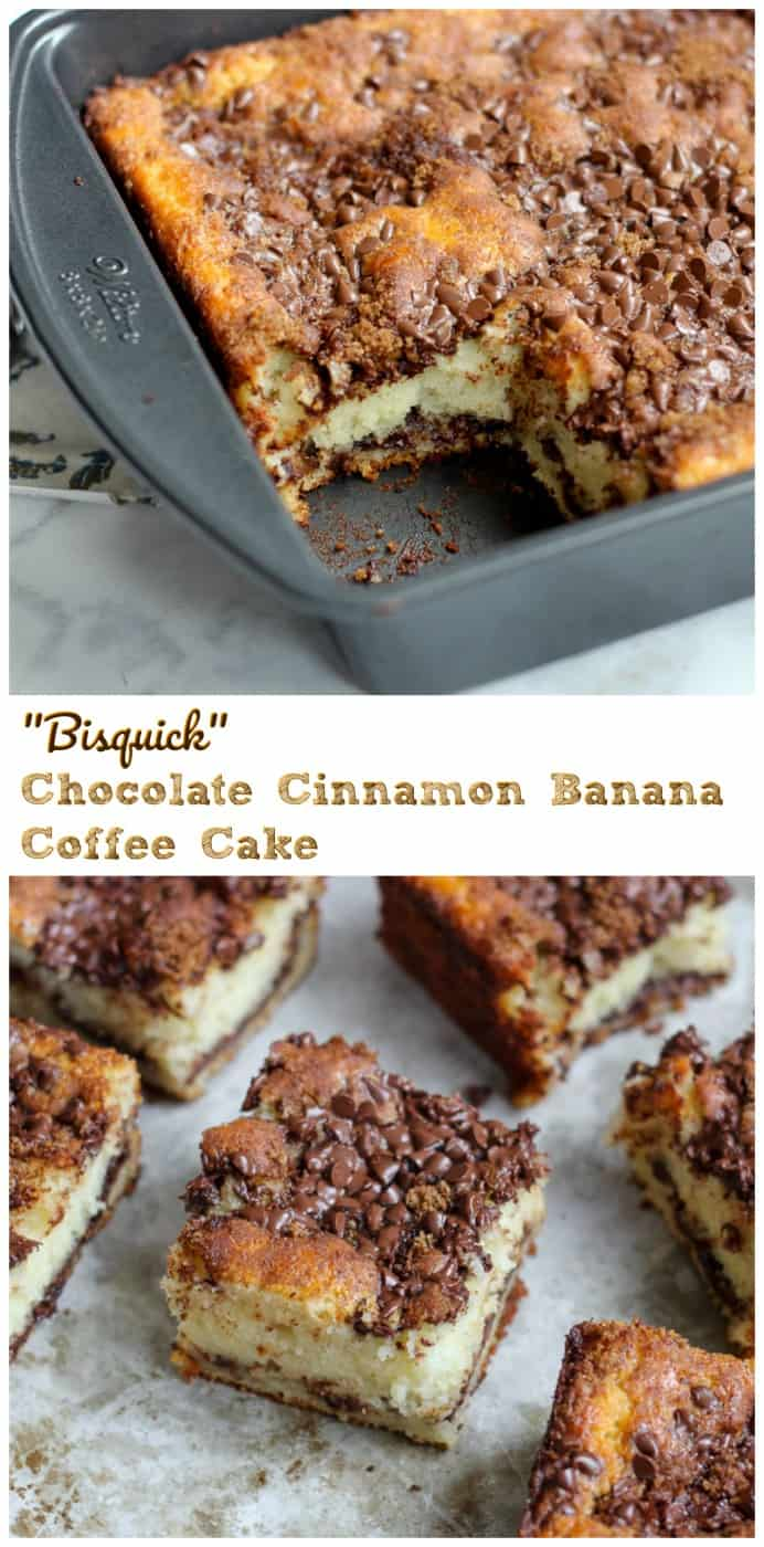 Bisquick Chocolate Cinnamon Greek Yogurt Banana Coffee Cake - This yummy coffee cake is delightfully infused with vanilla Greek yogurt and banana, which makes it so light, moist and fluffy, with hints of cinnamon, dark brown sugar and chocolate in each gorgeous bite.  #chocolatechip #banana #cinnamon #coffeecake #breakfast #brunch #mothersday