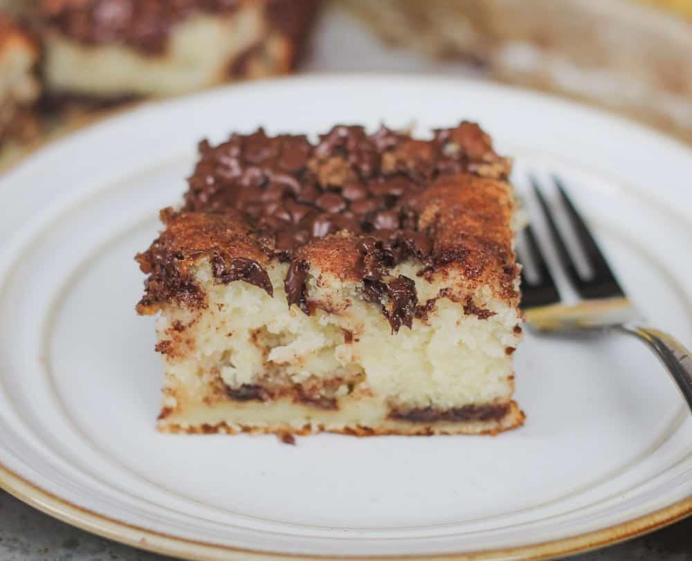 """Bisquick"" Chocolate Cinnamon Greek Yogurt Banana Coffee Cake"