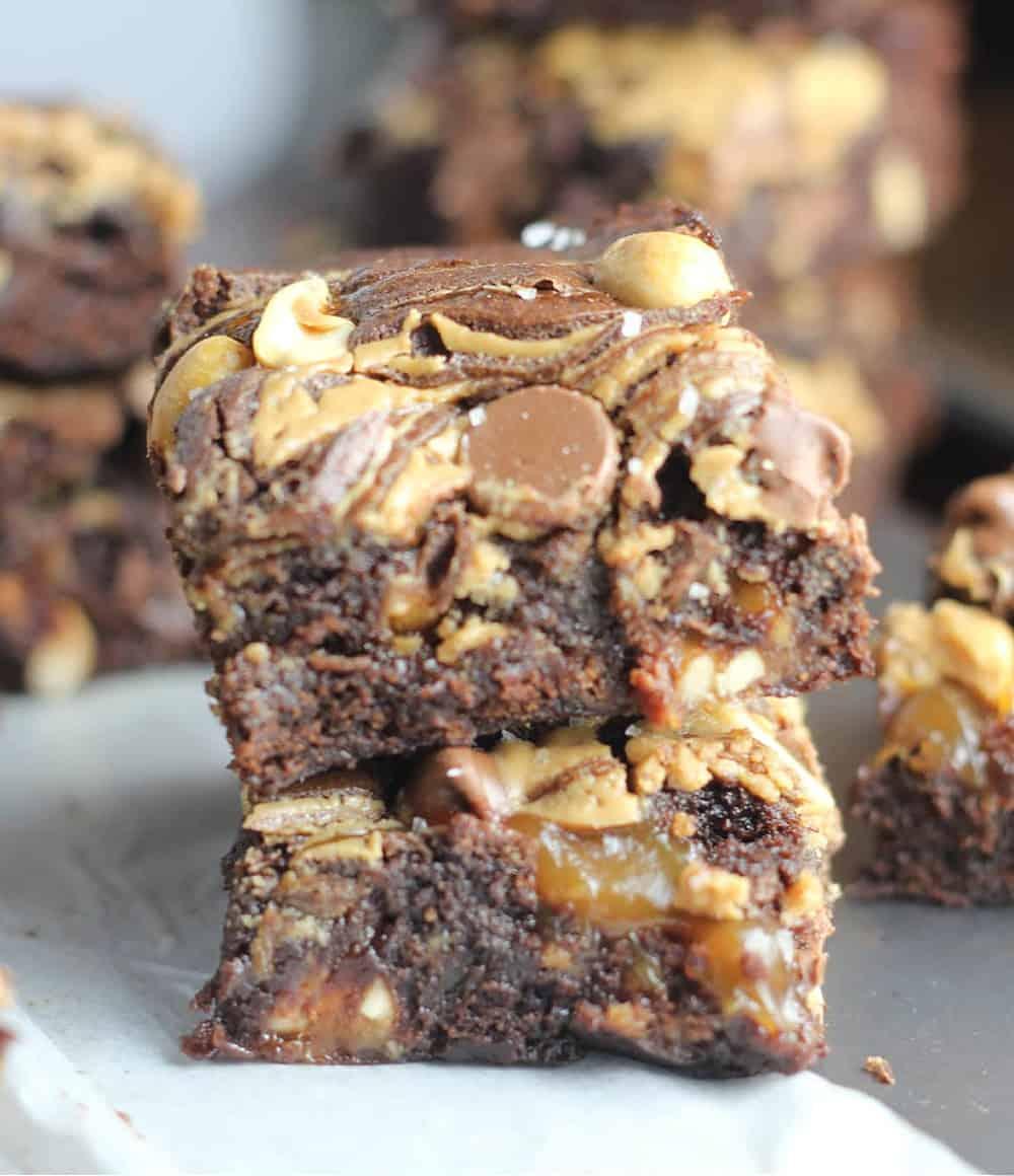 Ultimate Fudgy Snickers Brownies
