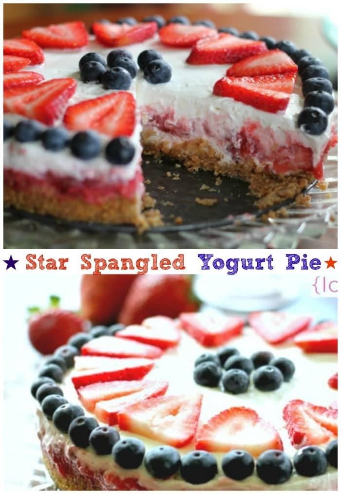 Star Spangled Yogurt Pie {Ice Box or Freezer}