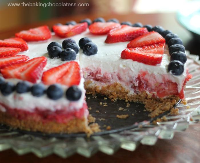 Star Spangled Yogurt Pie {Ice Box or Freezer Style}