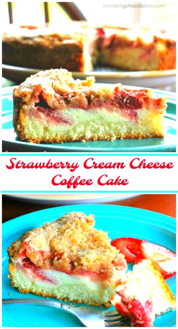 Strawberry Cream Cheese Coffee Cake -Wonderful white butter cake, adorned with a classic cream cheese filling, juicy roasted strawberries and a delicious cinnamon streusel.