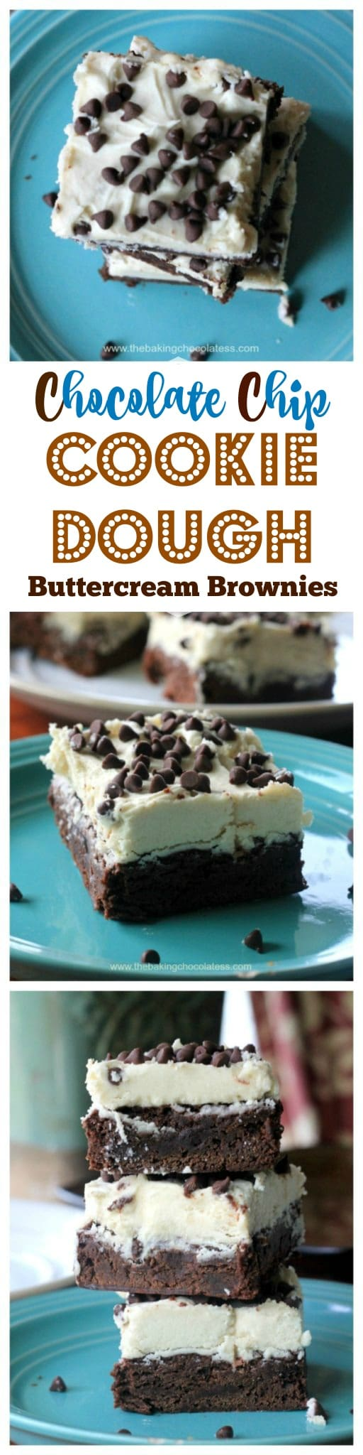 Cookie Dough Buttercream Frosted Brownies