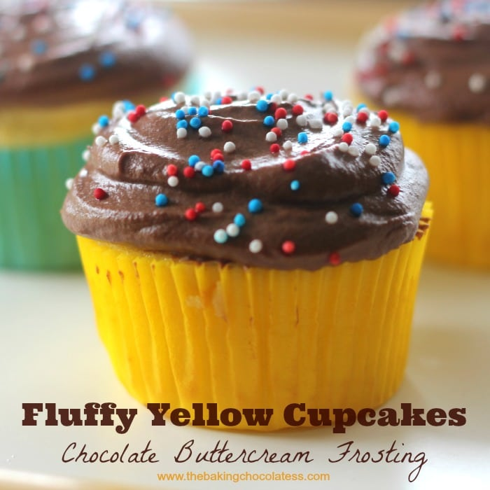 Fluffy Yellow Cupcakes Chocolate Buttreercream Frosting