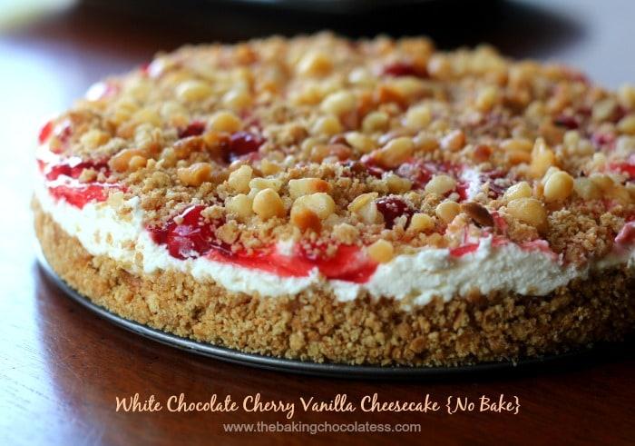 White Chocolate Cherry Vanilla Cheesecake {No Bake}
