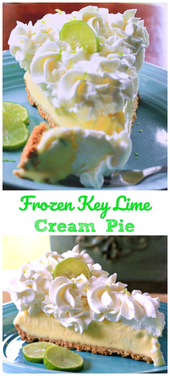 Frozen Key Lime Cream Pie - It has amazing flavor and the tanginess of the limes and creaminess of the homemade whipped cream makes this dessert sooooo sublime! #lime #key lime #cream pie #no bake