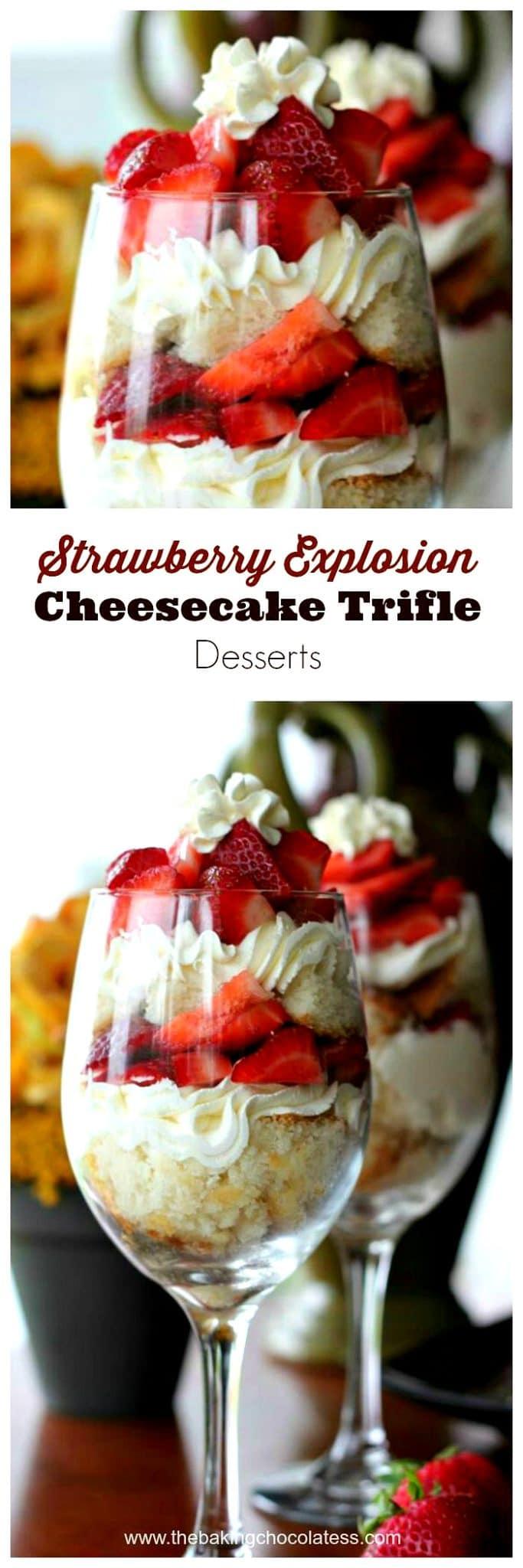 Strawberry Explosion Cheesecake Trifle Desserts