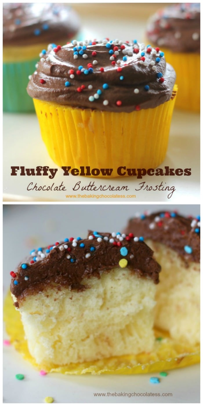 Fluffy Yellow Cupcakes with Chocolate Buttercream Frosting