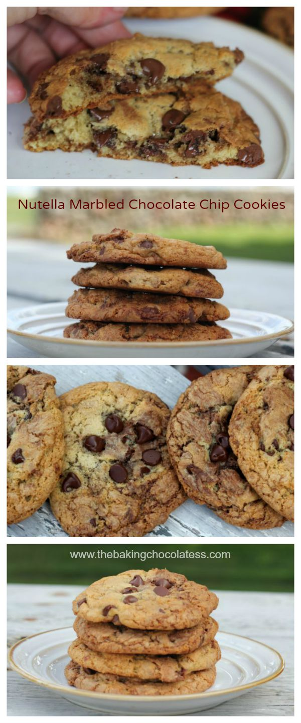 Nutella Marbled Chocolate Chip Cookies – The Baking ChocolaTess