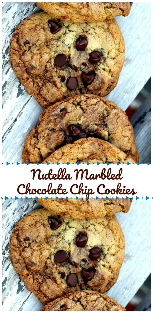 Nutella Marbled Chocolate Chip Cookies - Got some sweet, soft, chewy and kinda crispy chocolate chip cookies marbled with Nutella swirls! Oh mama! Addictive!! #nutella #chocolatechip #cookies