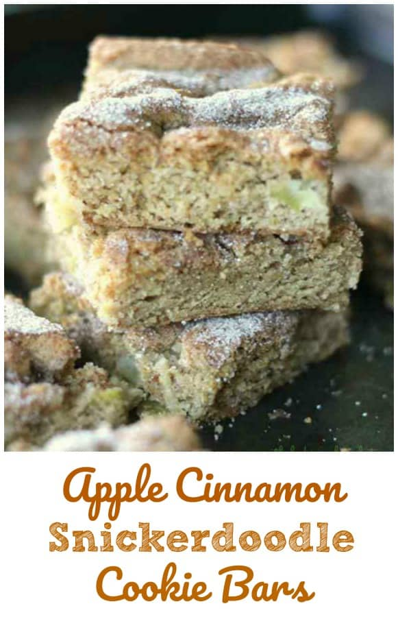 Apple Cinnamon Snickerdoodle Cookie Bars - Apple Cinnamon Snickerdoodle Cookie Bars are great for breakfast and snacking, snacking and more snacking! Definitely a fall favorite! #snickerdoodle #apple #cinnamon #bars #cookies #breakfast #snacking #fall #baking