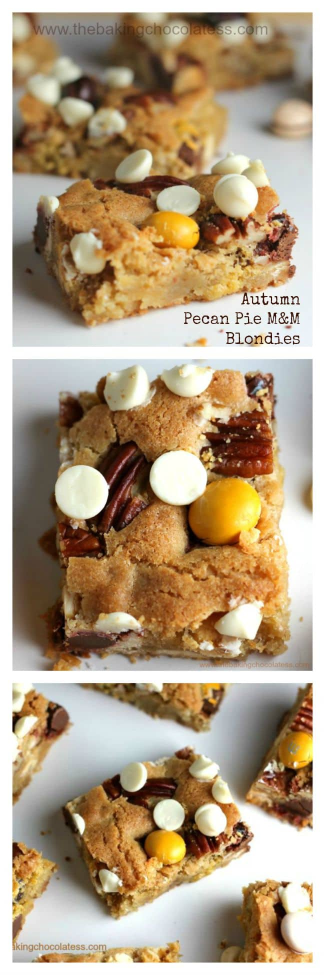 Autumn Pecan Pie M&M Blondies - These gorgeous, buttery blondies are stuffed with white chocolate chips, crunchy pecans and the belle of the ball