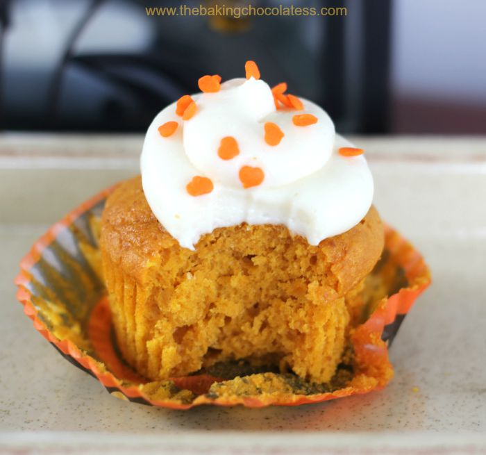 Plush Pumpkin Cupcakes with Vanilla Cream Cheese Frosting
