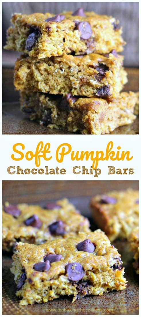 Soft Pumpkin Chocolate Chip Bars - These Pumpkin Chocolate Chip Bars are so soft, moist and super delicious! It\'s a perfect fall time dessert to share....or not! Addicting! #pumpkin #chocolate chip #bars #baking #fall #desserts #healthy