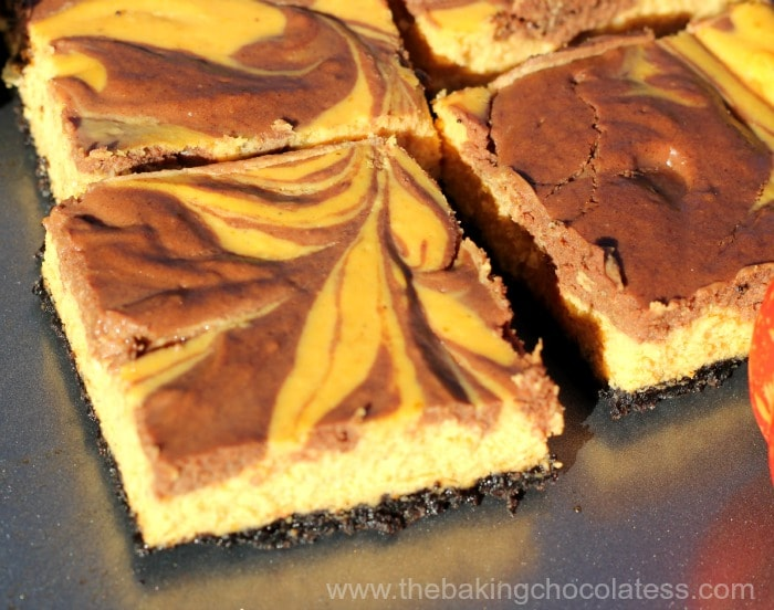 Pumpkin Chocolate Swirl Cheesecake Bars
