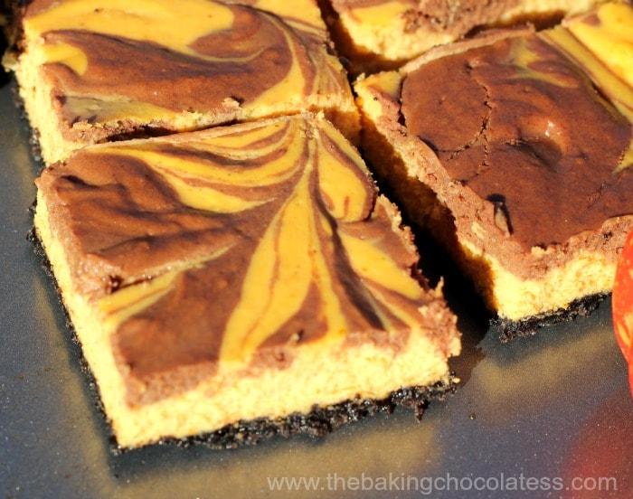 Pumpkin Chocolate Swirl Cheesecake Bars