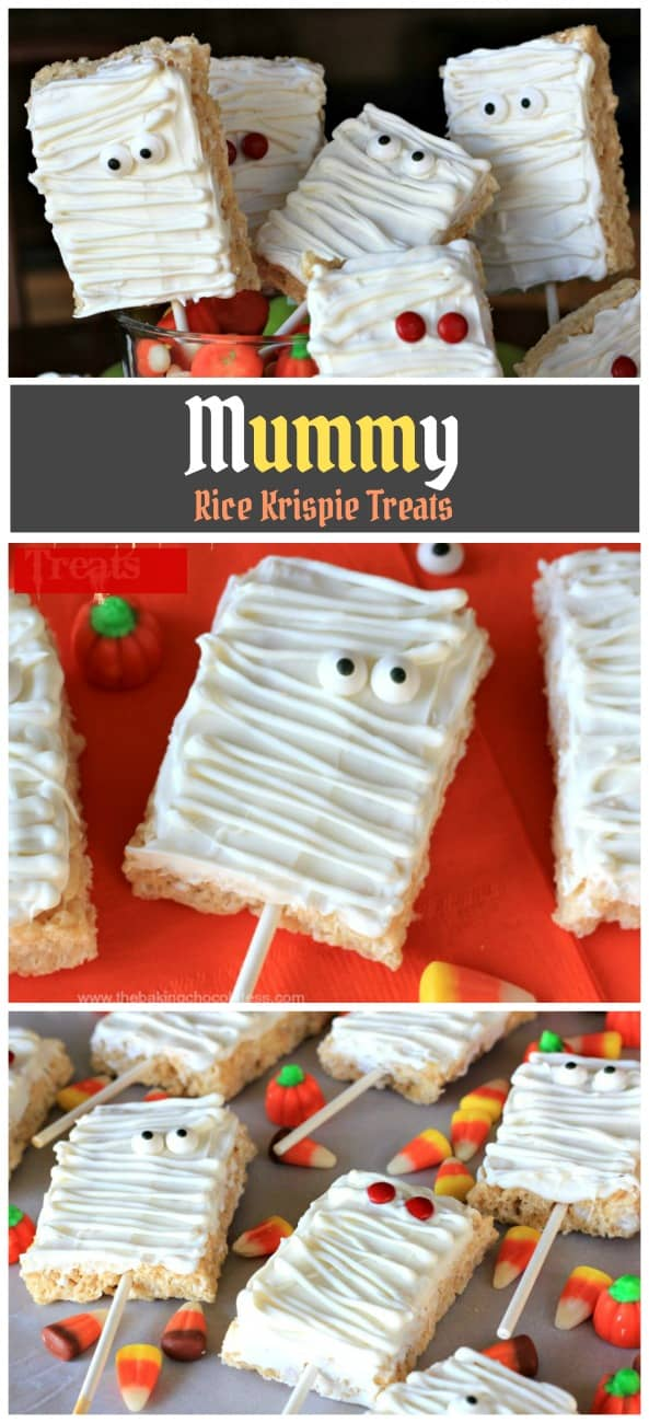 Spooky Mummy Rice Krispie Treats - Gooey, marshmallow Rice Krispie treats slathered with delicious, white chocolate mummy decor. (Eyeballs included)