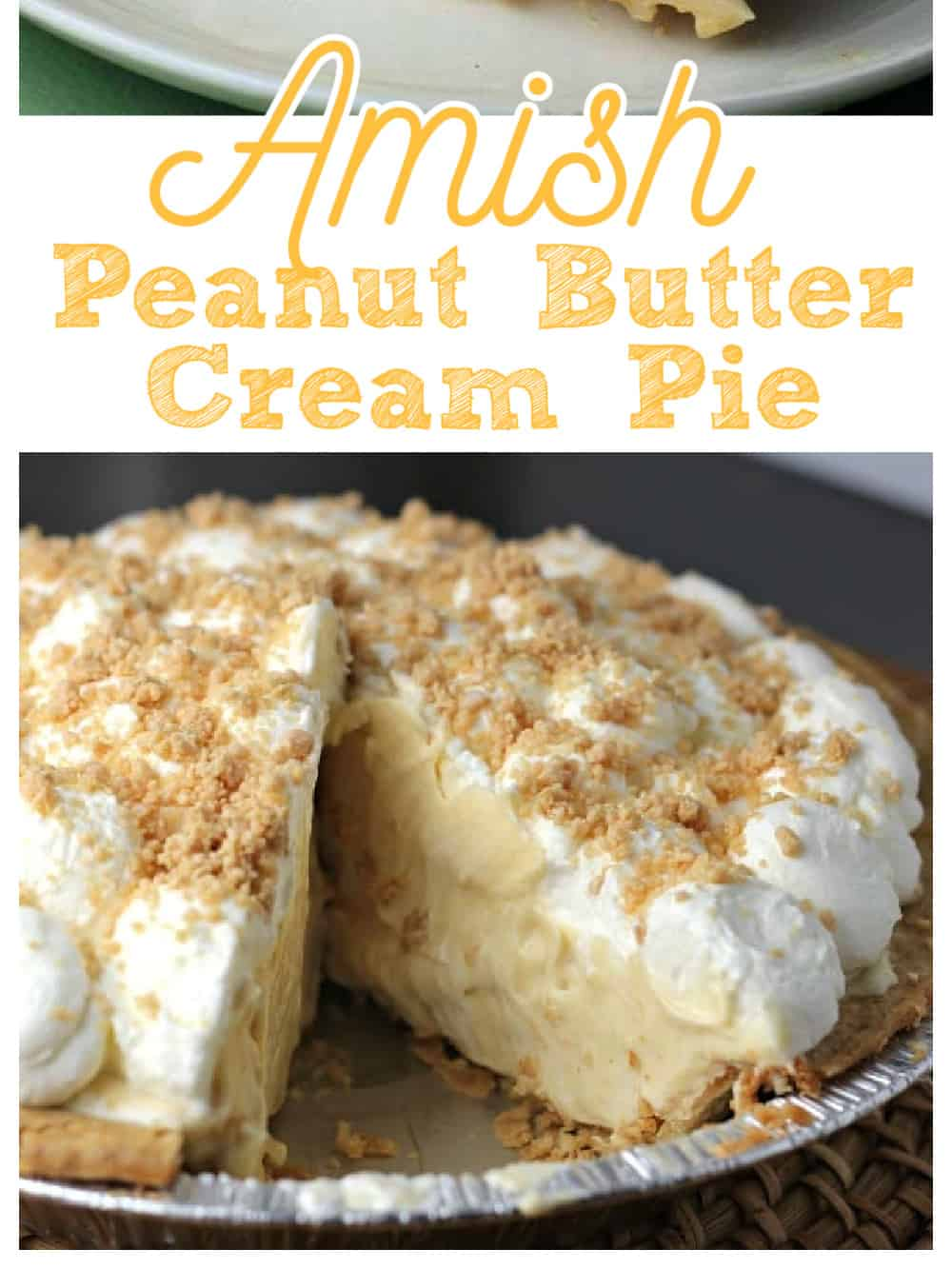 slice of Amish Peanut Butter Cream Pie removed