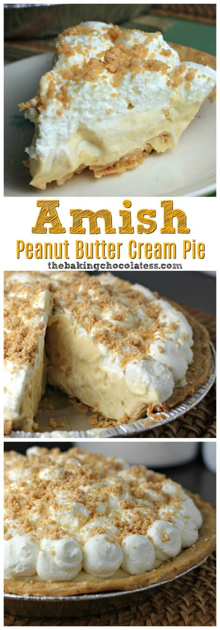 Amish Peanut Butter Cream Pie - Amish\' is referred to as being plain, but there is nothing \'plain\' about this creamy, dreamy Amish Peanut Butter Cream Pie! Perfectly delectable! #peanut butter #amish #pie #peanut butter pie