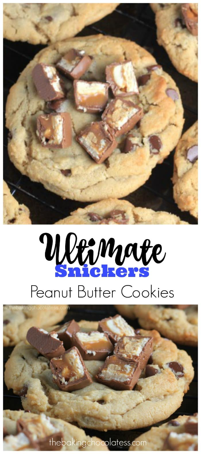 Ultimate Snickers Peanut Butter Cookies #snickers #cookies #peanut butter #cookies #baking