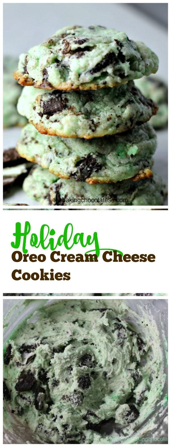 Holiday Oreo Cream Cheese Cookies #holiday #cookies #oreos #green #stpatricks #baking #christmas