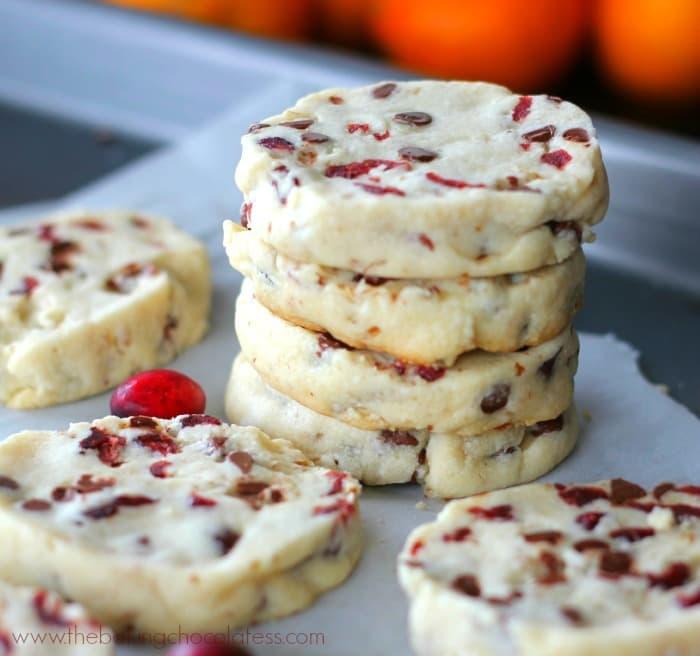 Holiday Cranberry Orange Shortbread Cookies