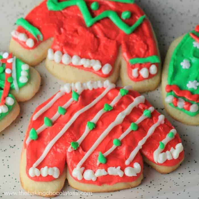 'Ugly Sweater' Buttercream Frosted Christmas Cookies