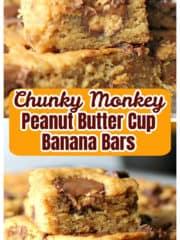 Chunky Monkey Peanut Butter Cup Banana Blondies