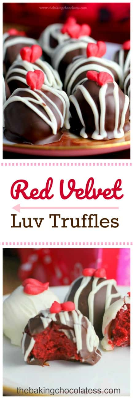 Red Velvet Luv Truffles - Perfect for the Valentine's Day, because who wouldn't want these as a gift or on a party tray!? Beautifully stunning and so delicious!! #redvelvet #truffles #valentinesday