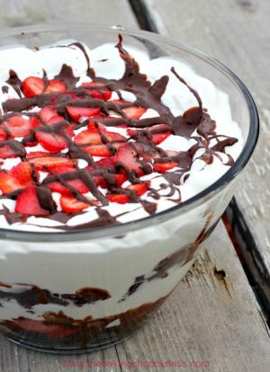 Chocolate Covered Strawberry Brownie Trifle Delight