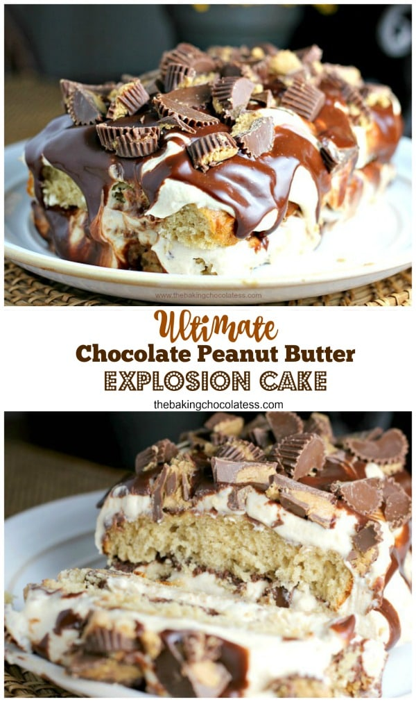 Ultimate Chocolate Peanut Butter Explosion Cake - The peanut butter cake is light and moist, Perfectly layered with that creamy peanut butter mousse, chocolate fudge ganache and our favorite -- Reese's Peanut Butter Cups! My cup can keep running over with this. I won't complain.