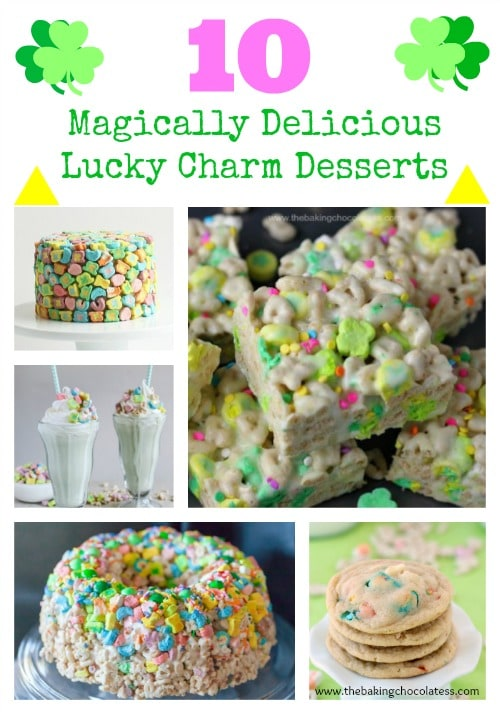 10 Magically Delicious Lucky Charm Desserts - #stpatricks #luckycharms #holidays #cereal #treats #marshmallow #green