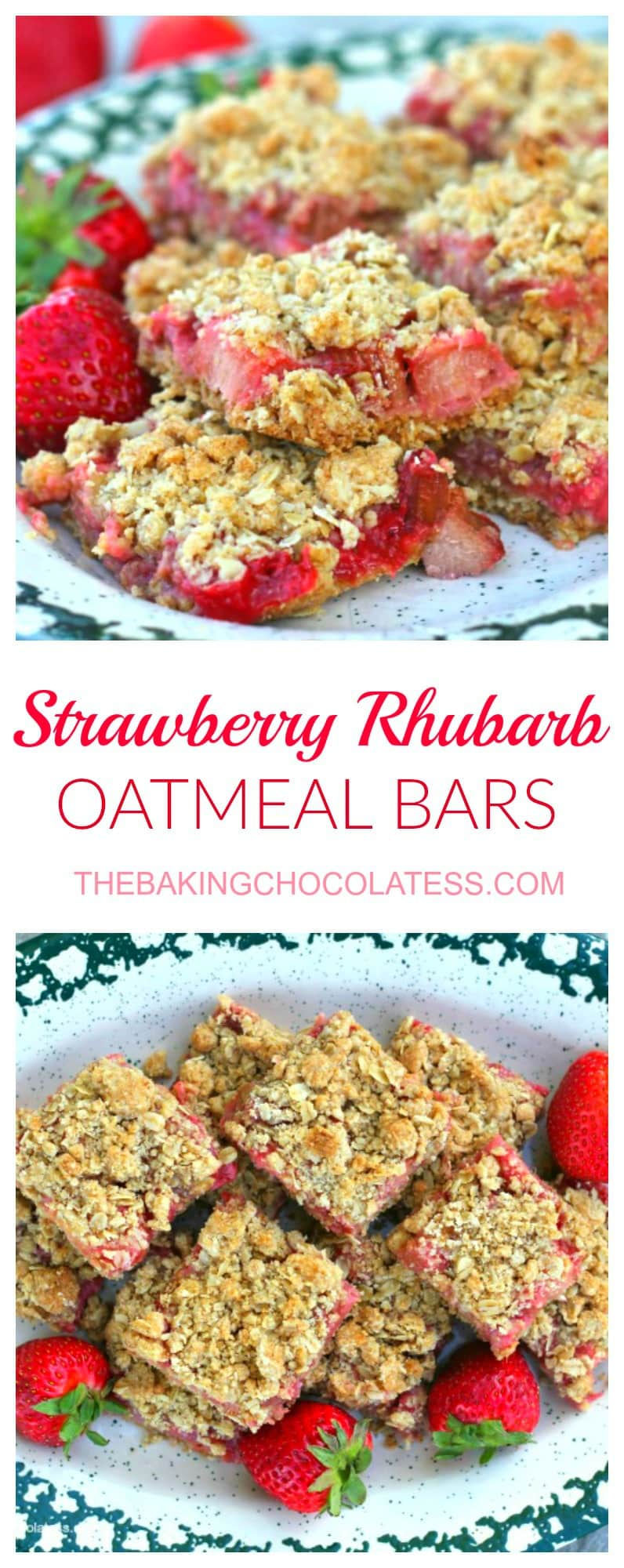 Awesome Strawberry Rhubarb Oatmeal Bars