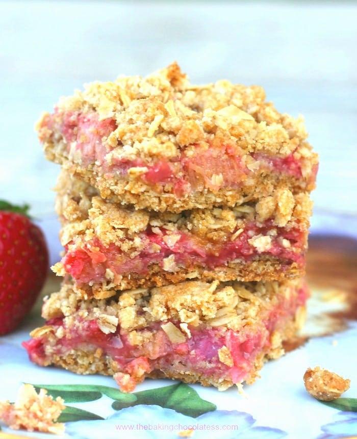 Awesome Strawberry Rhubarb Oatmeal Bars