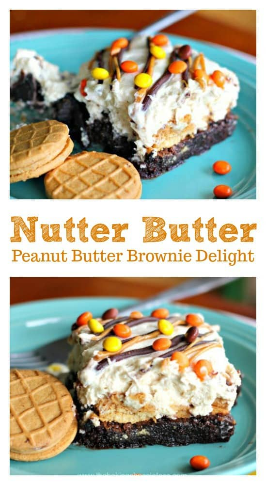 Nutter Butter Peanut Butter Brownie Delight- You\'ll completely be obsessed with heavenly bites of scrumptious Peanut Nutter Butter Cookies, creamy peanut butter fluff and rich, fudgy brownie delightfulness in my Nutter Butter Peanut Butter Brownie Delight!