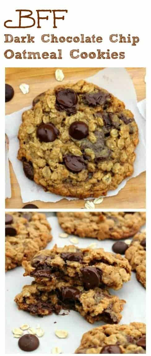 BFF Dark Chocolate Chip Oatmeal Cookies