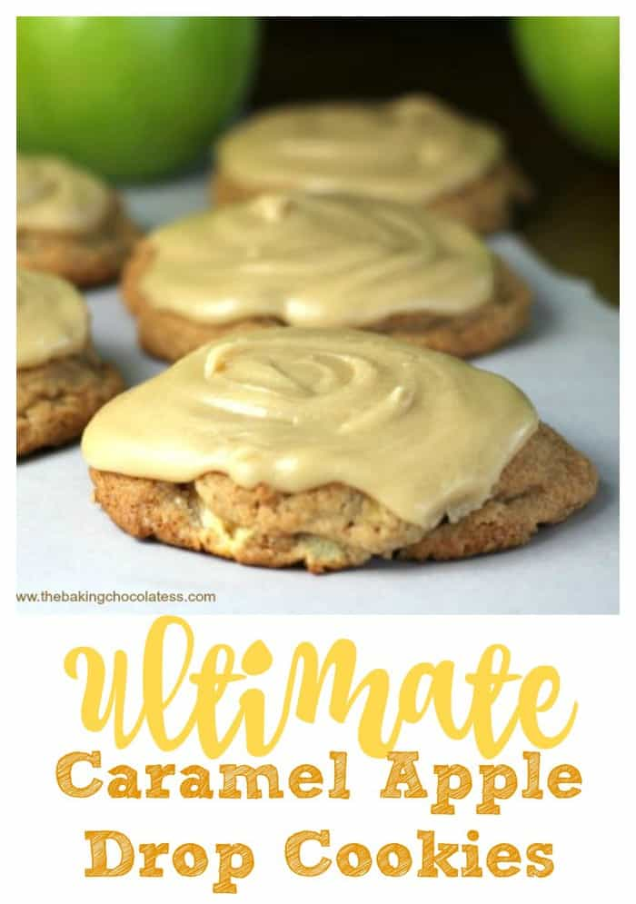 Ultimate Soft Caramel Apple Drop Cookies - These cookies have little bits of apple and hints of nutmeg and cinnamon in the cookie dough and when baked, you get soft, mellow apple-icious cookies. The 'taking them up a notch' is the delicious, buttery caramel frosting swirled on top! For those who like salted caramel, give it a pinch of sea salt. #apple #cookies #caramel #frosting #salted caramel #fall #drop cookie