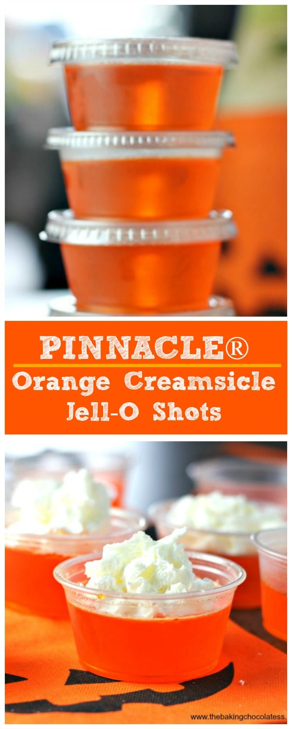 PINNACLE Orange Creamsicle Jell-O Shots for spring, summer and fall!