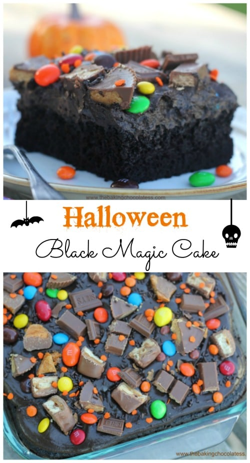 Halloween Black Magic Candy Cake is such a fun cake for the kids to help bling out with candy galore. You\'ll have a spooktacular Halloween with this Halloween Black Magic Candy Cake!  The ultra-dark, ultra moist cake is to die for! Muahahaha!  #candybar #candybarcake #cake #blackmagiccake #halloween #halloweencake #candy