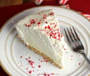 Holiday White Chocolate Peppermint Cheesecake Mousse Pie