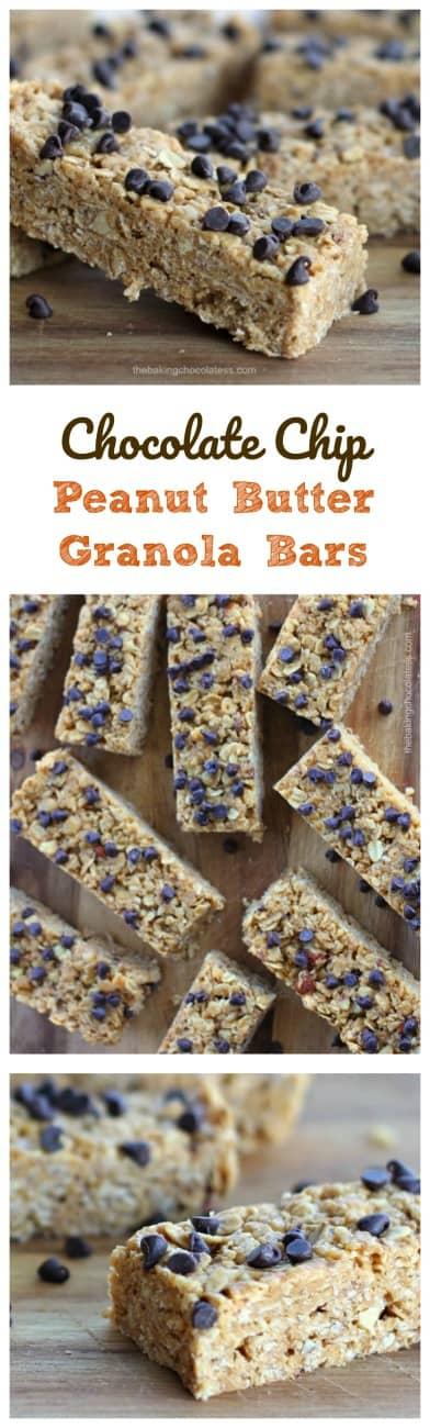 No Bake Chewy Chocolate Chip Peanut Butter Granola Bars They only take 10 minutes to make and they are loaded with wholesome ingredients like creamy peanut butter, rolled old-fashioned oats, rice krispies, honey, almonds, vanilla and mini chocolate chips.  You can also make these gluten free!