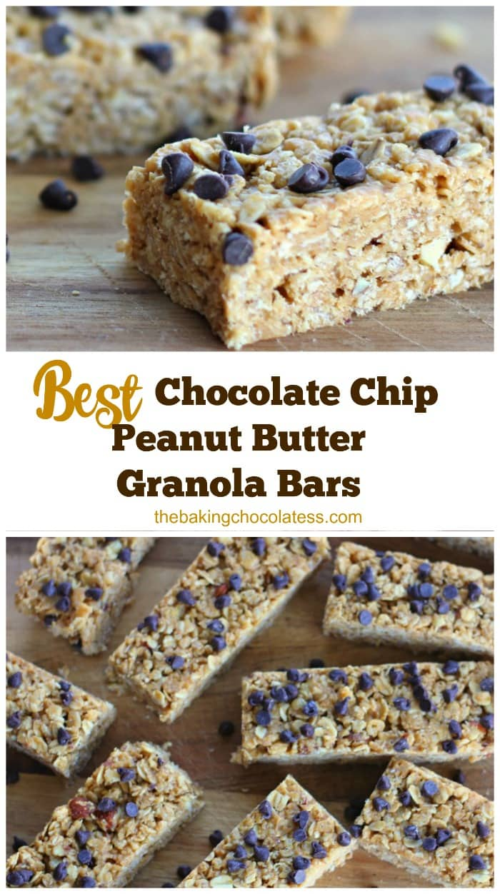 No-Bake Chewy Chocolate Chip Peanut Butter Granola Bars.T hey only take 10 minutes to make and they are loaded with wholesome ingredients like creamy peanut butter, rolled old-fashioned oats, rice krispies, honey, almonds, vanilla and mini chocolate chips.  You can also make these gluten free!