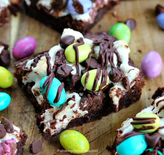 M&M Easter Egg Marshmallow Fudge Brownies