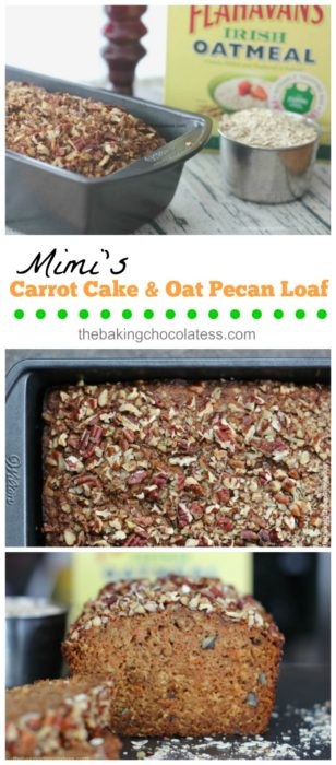 Mimi's Carrot Cake Oat Pecan Loaf is the Bomb! Made with 100% wholegrain Irish Oats, shredded carrots, roughly chopped pecans, cinnamon, nutmeg and applesauce are just a few key natural ingredients, mixed in with the usual suspects.