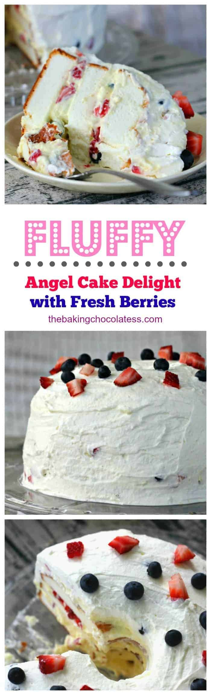 Enjoyable Fluffy Angel Food Cake Delight With Fresh Berries Cookie Personalised Birthday Cards Sponlily Jamesorg