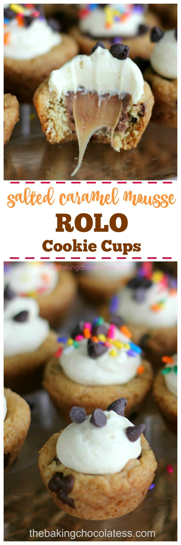 Salted Caramel Mousse ROLO Cookie Cups - Who could resist these little gooey cookie cups loaded with mini chocolate chips, ROLOs and a fluffy caramel mousse filling?  Not I  #rolo #cookies #cups #caramel #mousse
