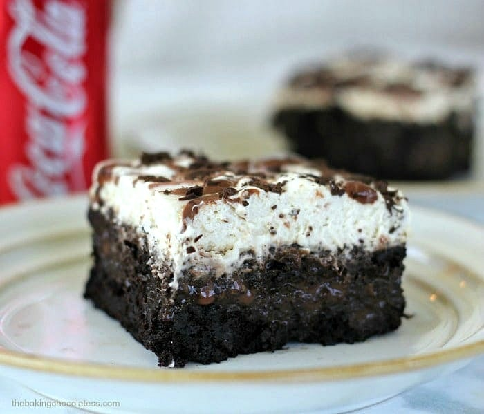 Whipped Chocolate Coca Cola Poke Cake