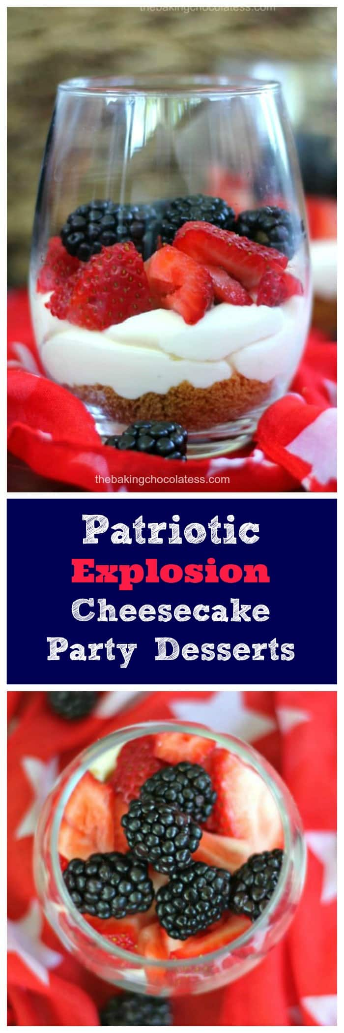 Enjoy your summer and Memorial Day Weekend with our nation's red, white and blue Patriotic Berry Explosion Cheesecake Party Desserts.